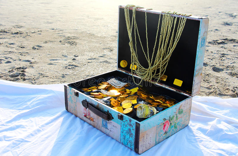 A treasure chest. On the beach royalty free stock images