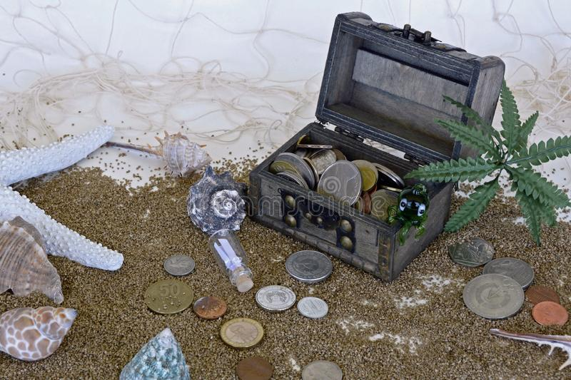 Treasure Chest On Beach And Coins Beside It Free Public Domain Cc0 Image