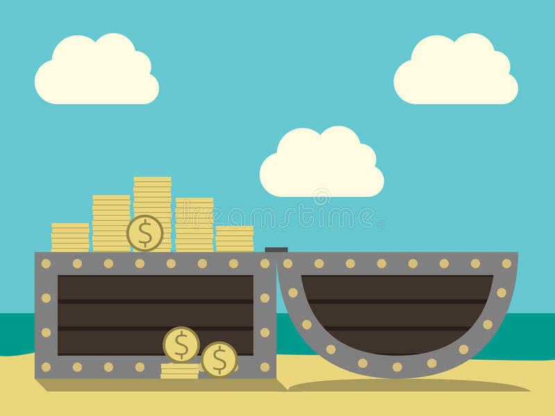 Treasure chest on beach. Open chest with treasure on sand beach on cloudy sky and ocean background. Many gold dollar coins. EPS 8 vector illustration, no royalty free illustration