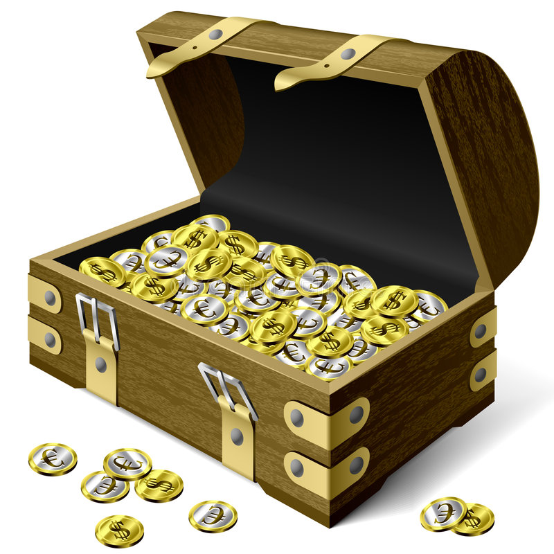 Treasure chest with coins royalty free illustration