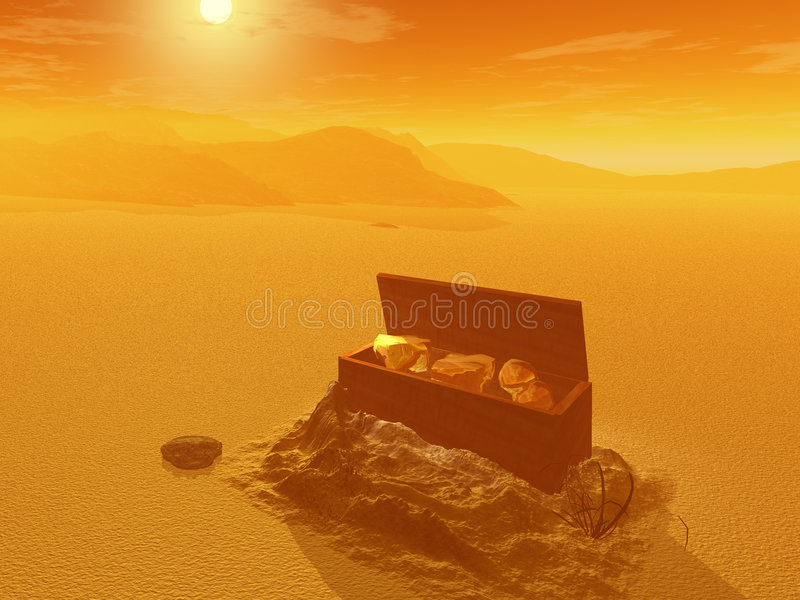 Treasure chest in the desert stock image