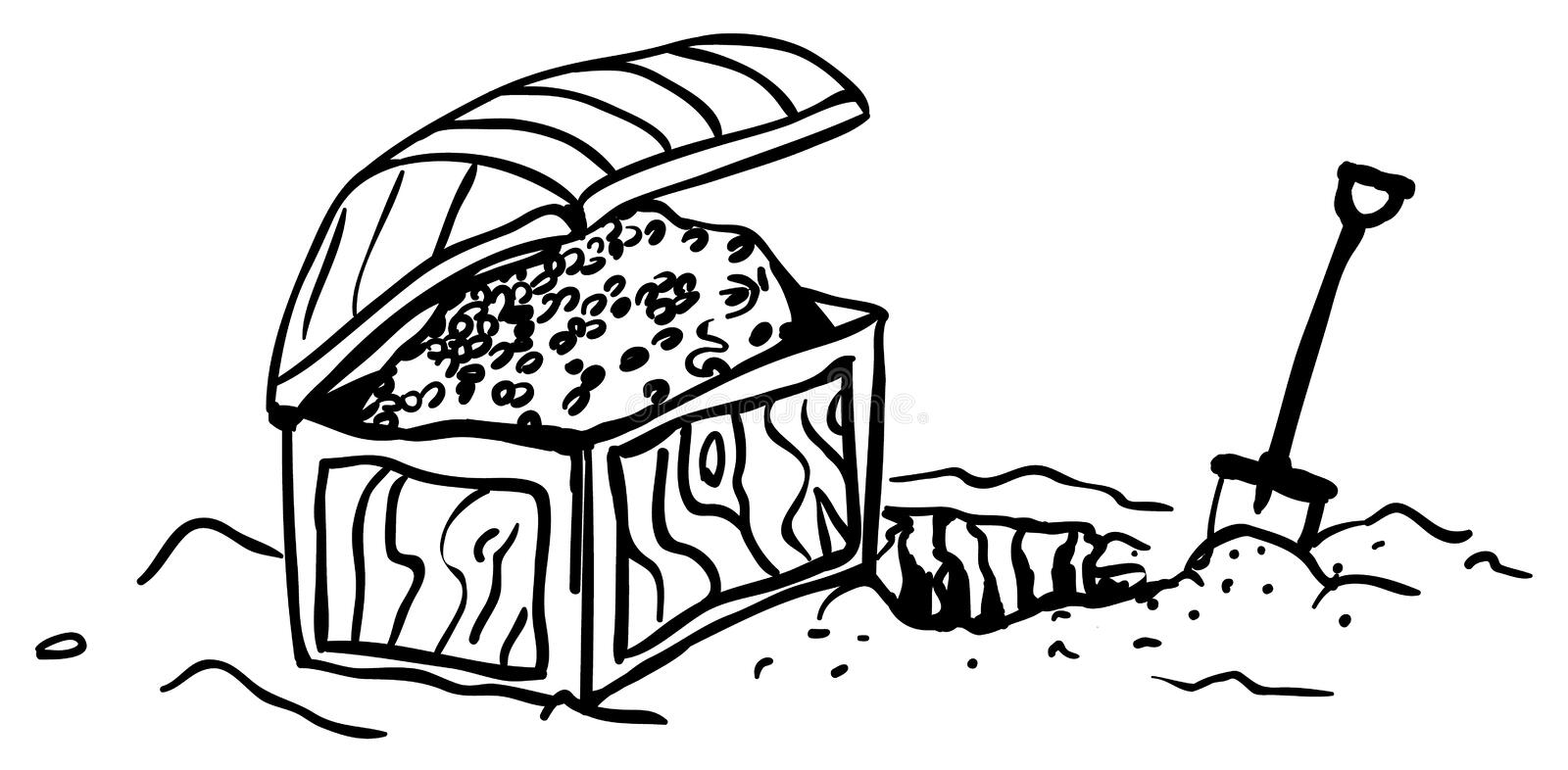 Treasure Chest Dig. Cartoon line drawing, horizontal, vector illustration, isolated stock illustration