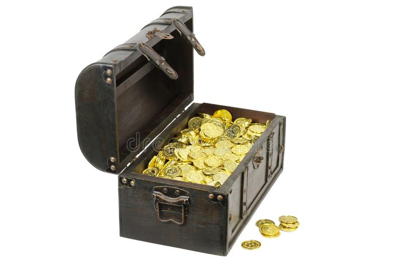 Treasure chest filled with gold coins royalty free stock photo