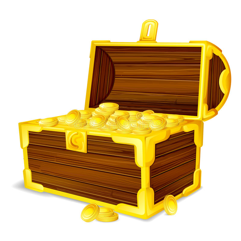 Treasure Chest full of Gold Coin. Vector illustration of treasure chest full of gold coin stock illustration