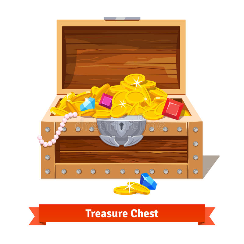 Treasure chest full of gold coins, crystal gems vector illustration