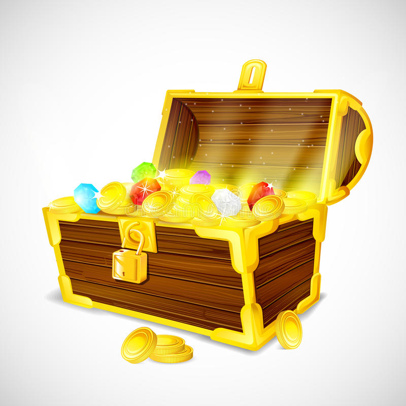 Treasure chest full of Gold Coins and Gem stock illustration