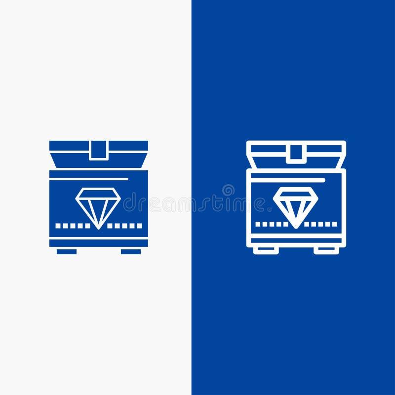 Treasure, Chest, Gaming Line i Glyph Solid - niebieski baner ilustracji