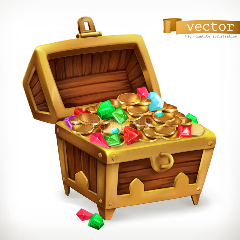 Treasure chest. Gems and gold coins. Vector icon royalty free illustration