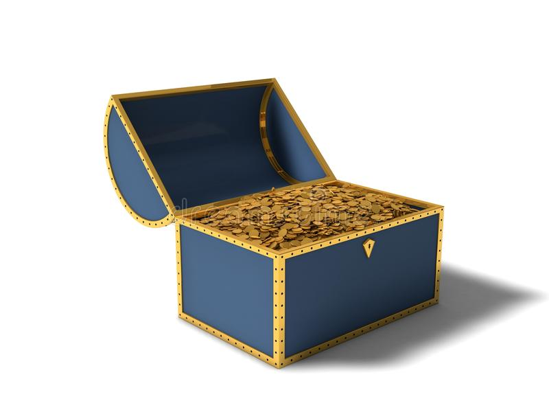Treasure chest. With gold coins royalty free illustration