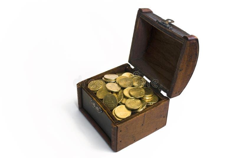 Treasure chest with golden euro money. Treasure chest filled with golden euro cent money royalty free stock photos