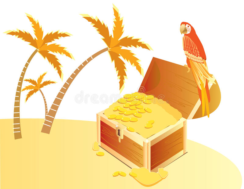 Treasure chest on island stock images