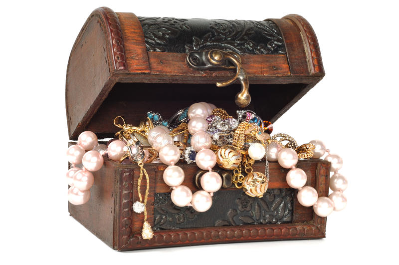 Treasure Chest With Jewelry Royalty Free Stock Images