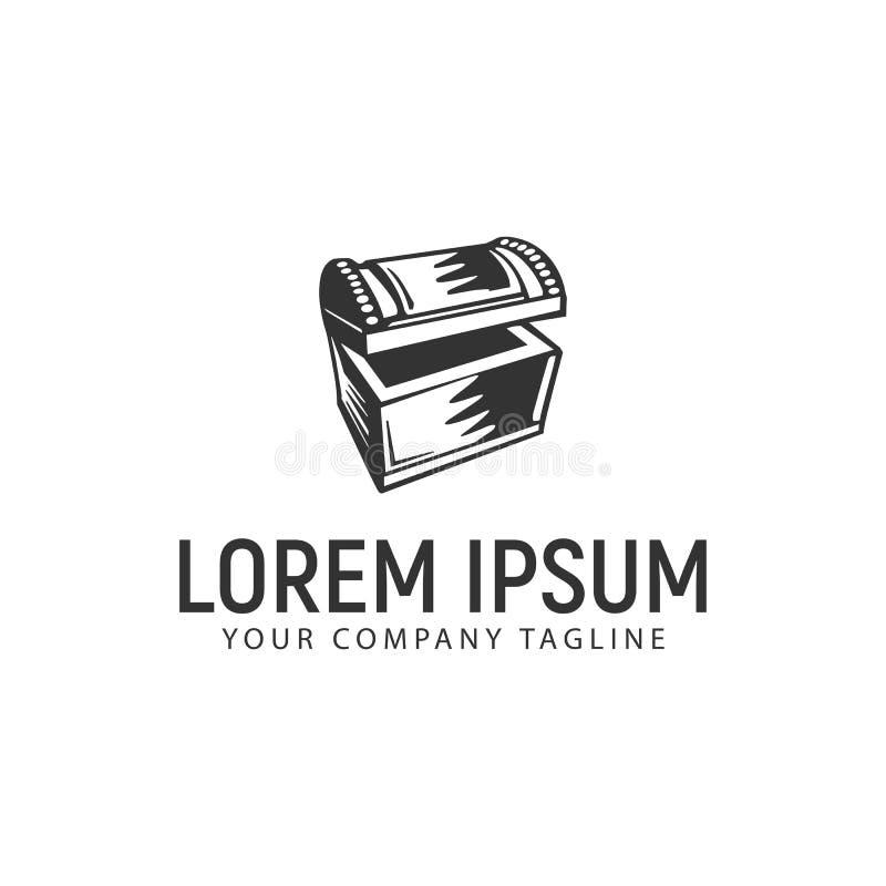 Treasure chest logo design concept template.  stock illustration