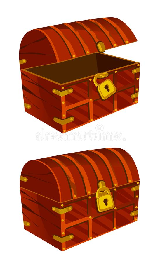 A treasure chest of mahogany with a golden lock. On a white background vector illustration