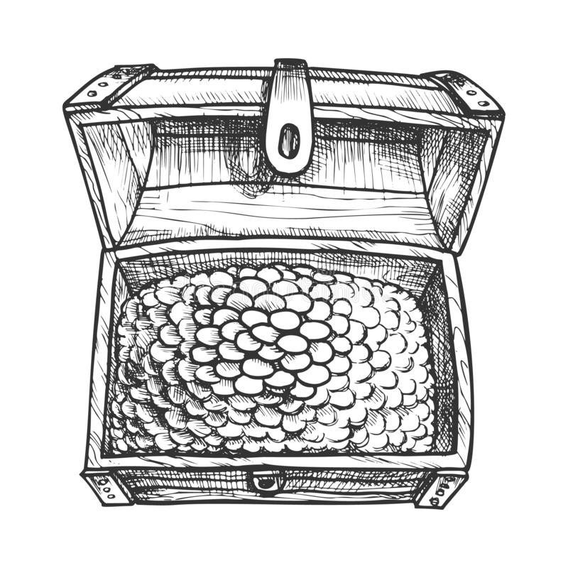 Treasure Chest Nasycone Pirate Coins Vintage Vector ilustracja wektor