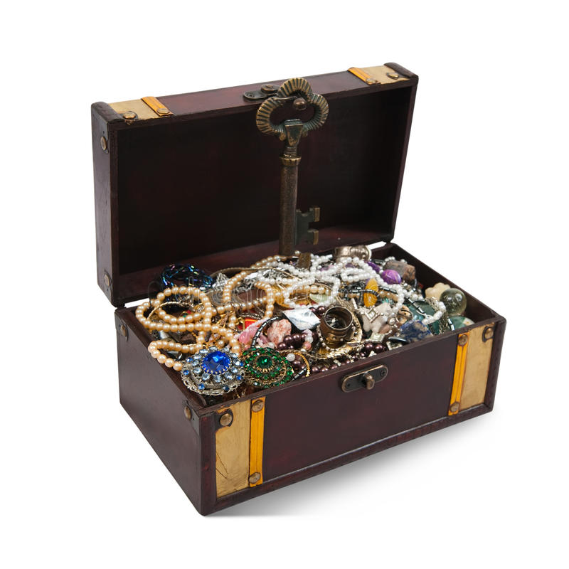 Treasure chest over white royalty free stock photo