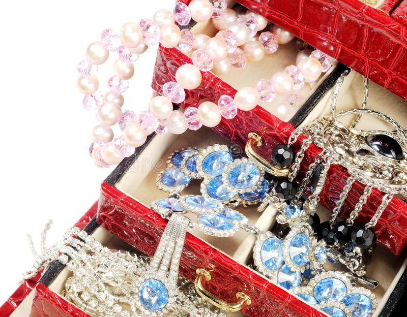 Treasure Chest With Gold And Custom Jewelry Stock Photo