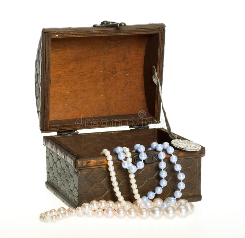 Treasure Chest, Pearls, Gold Coin CLIPPING PATH royalty free stock images