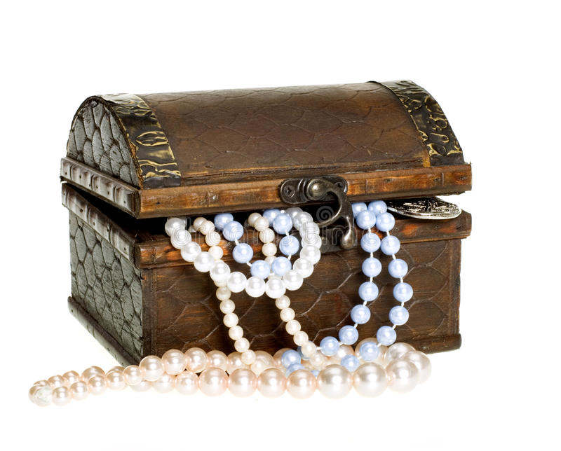 Treasure Chest, Pearls, Gold Coin CLIPPING PATH royalty free stock image