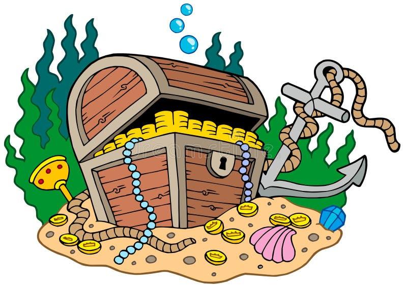 Treasure chest on sea bottom stock illustration