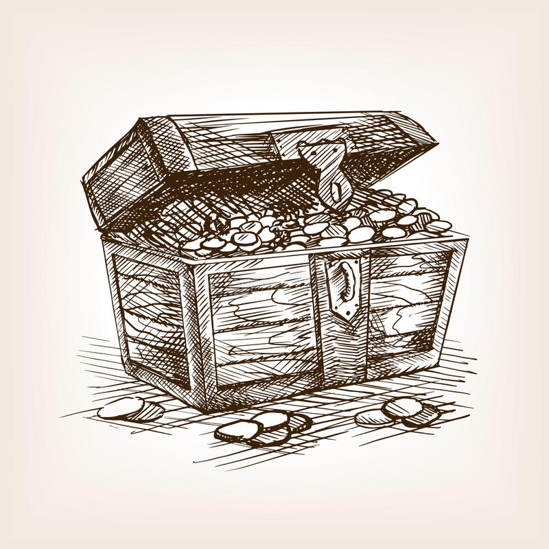 Treasure Chest Sketch Style Vector Illustration Stock ...