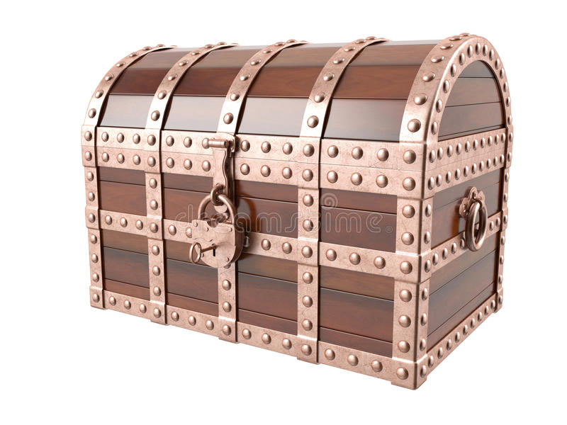 Treasure chest. On white background. 3D image royalty free stock image