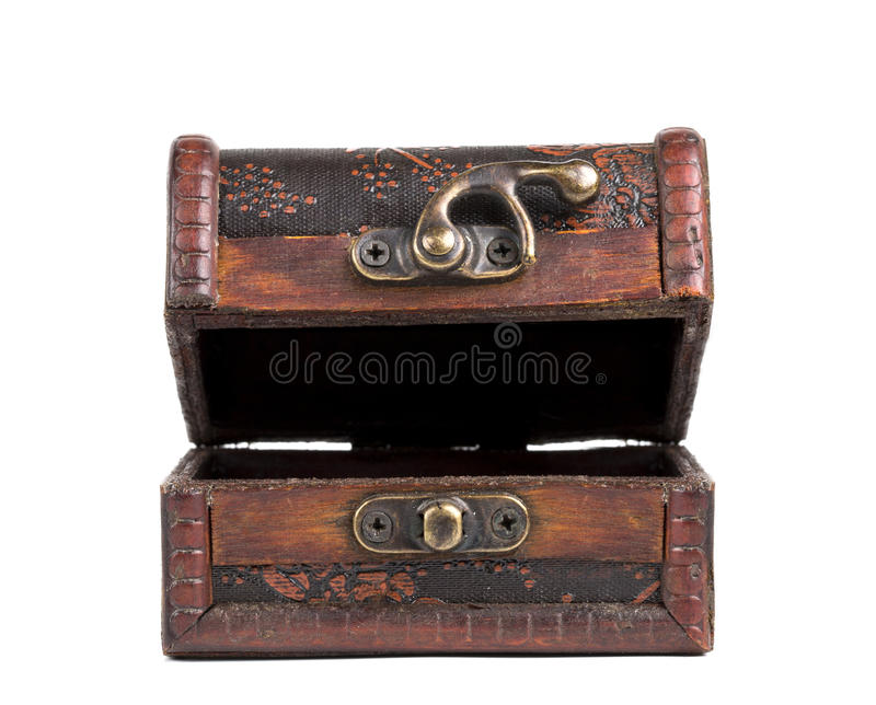 Treasure Chest. Wooden treasure chest with open royalty free stock images
