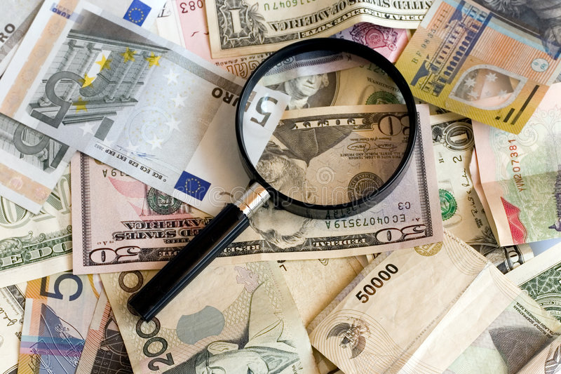 Treasure Hunt. Magnifying glasses with US, AUS, Singapore, Europe, and Indonesia currency in colors royalty free stock images