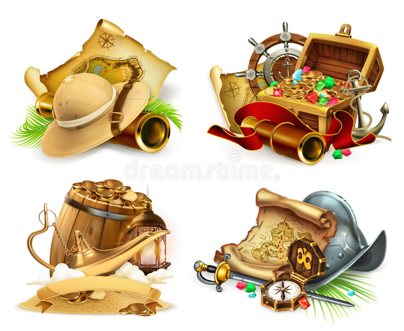 Treasure hunt and adventure. 3d vector icon set royalty free illustration