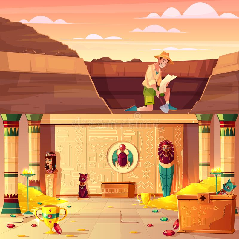 Treasure hunter searching pharaoh treasury vector. Archeology excavations, treasure hunting cartoon vector concept with archeologist or tomb rider watching on royalty free illustration