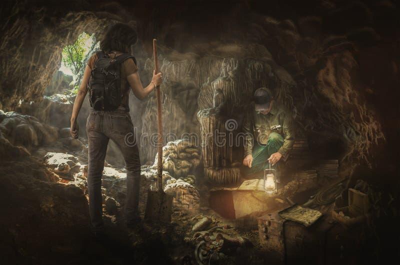 Treasure hunters. In search of the true treasures stock illustration
