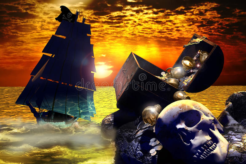 The treasure island. Under a rising sun, on a golden see, a pirate sailboat approaches the coast of an island where there is a treasure and a skull royalty free illustration