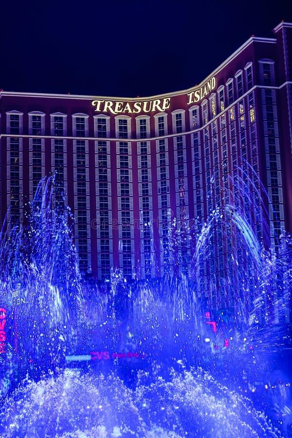 Treasure Island Casino. Las Vegas, Treasure Island Casino , overview, evening stock photography