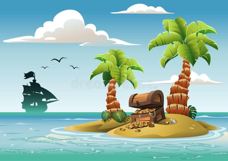 Treasure Island. Treasure chest on the unhabited tropical island in the ocean stock illustration