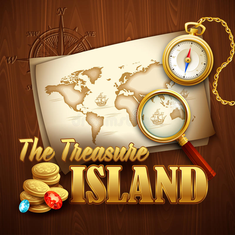 Free Treasure Island. Vector Template Stock Photography - 51368592