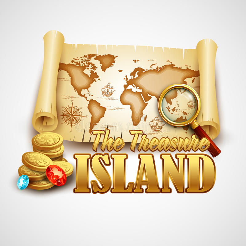Treasure Island. Vector template vector illustration