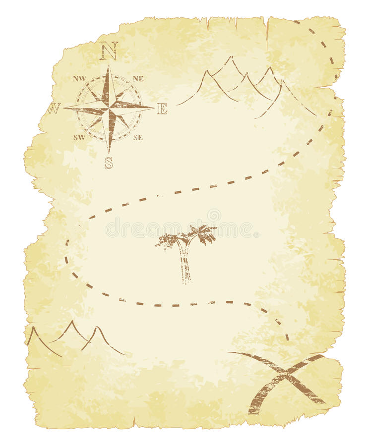 Antique Scroll Map: Treasure Map Stock Vector. Illustration Of Scroll, Antique