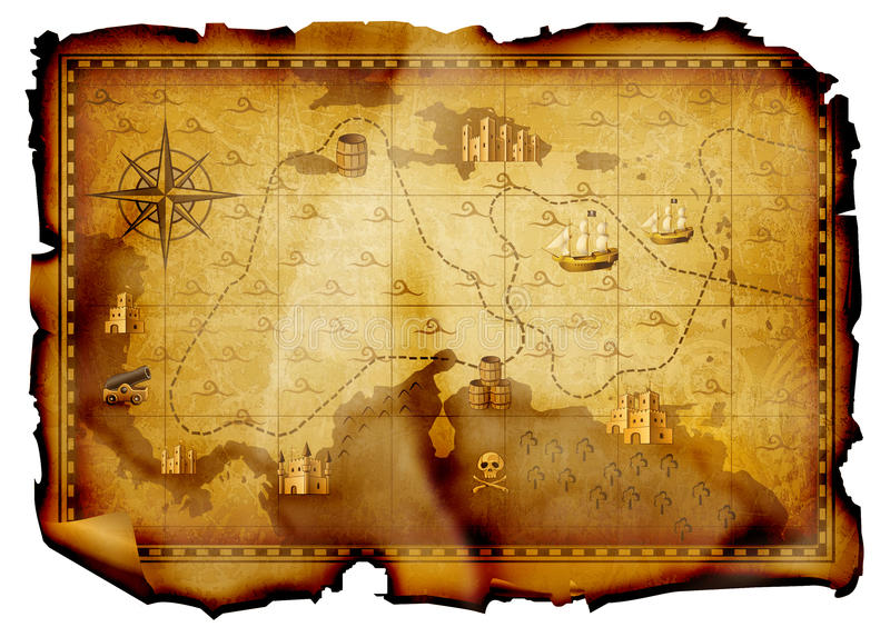 Treasure map. Antique burnt map isolated on white