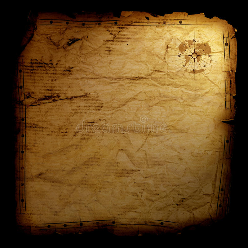 Treasure map - on black. Blank treasure map with wind rose in top right corner stock photos