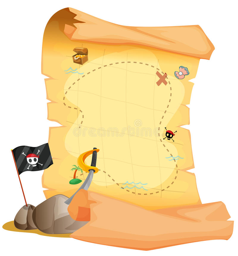 Download A Treasure Map Beside The Flag And The Sword Stock Vector - Illustration of black, drawing: 33908666