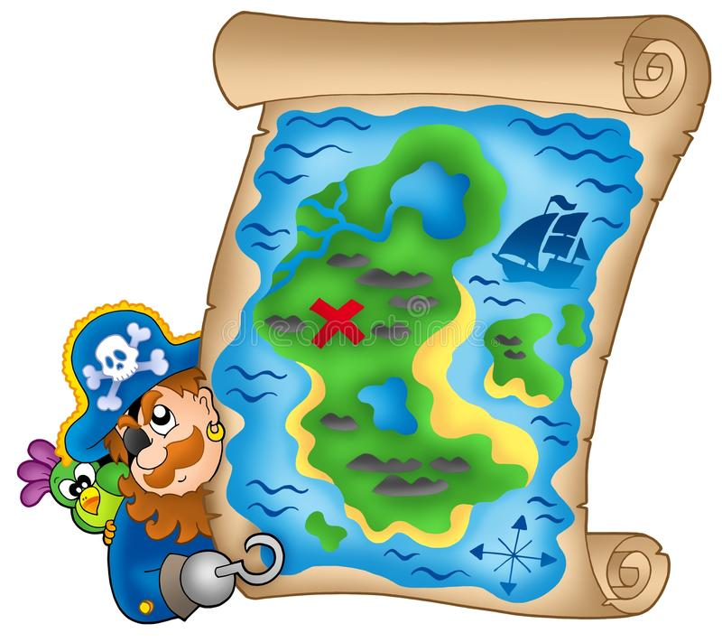 Download Treasure Map With Lurking Pirate Stock Illustration - Illustration: 9720739