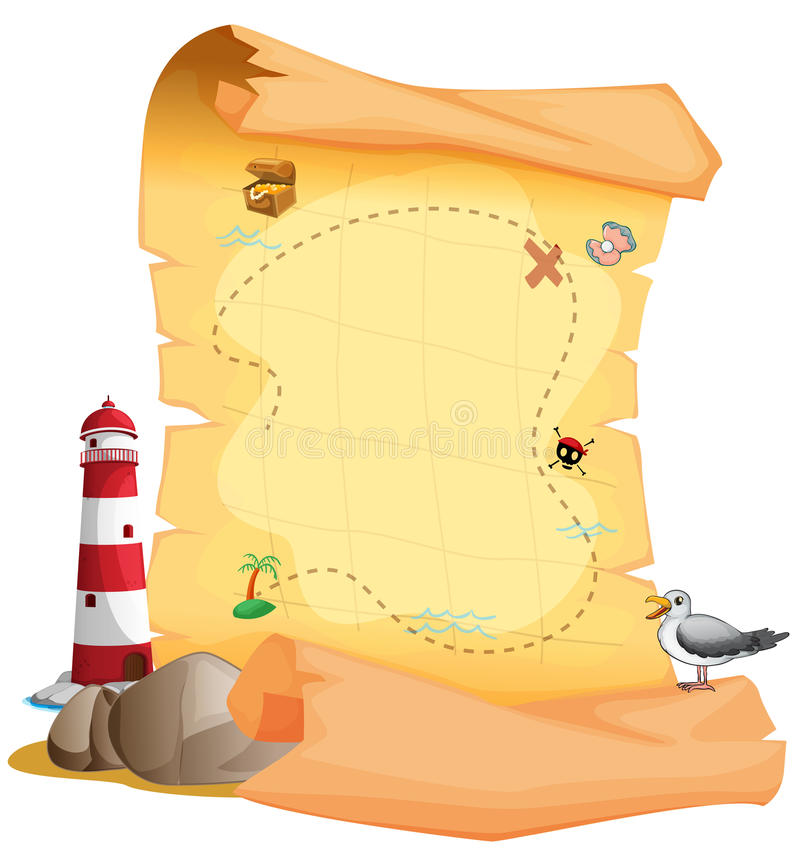 A treasure map near the lighthouse. Illustration of a treasure map near the lighthouse on a white background vector illustration