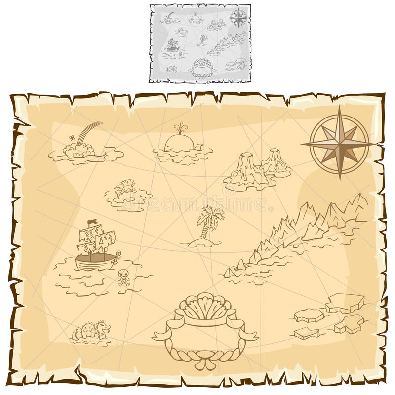 Treasure map on old parchment. Vector stock illustration