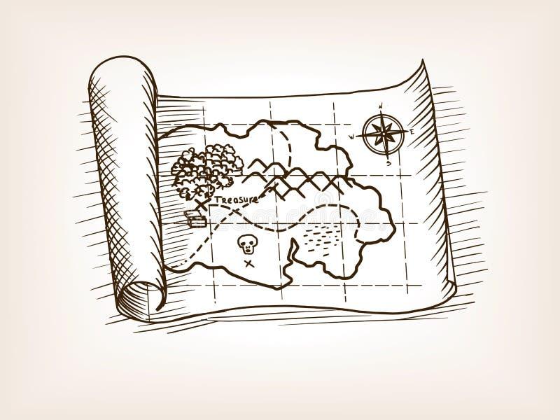Download Treasure Map Sketch Style Vector Illustration Stock