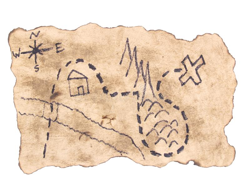 A treasure map to find gold royalty free stock image