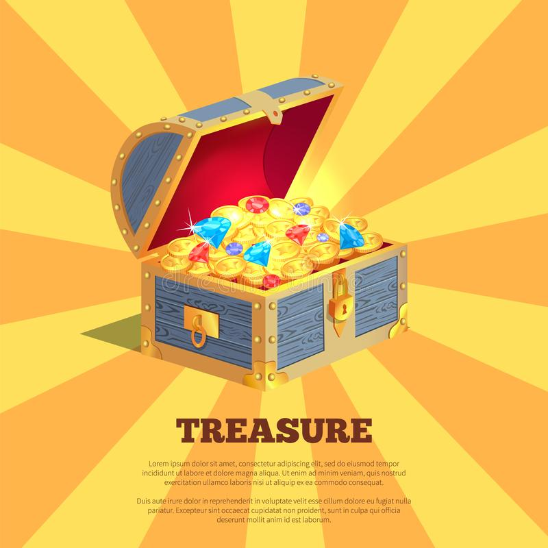 Treasure Poster with Wooden Chest Full of Ancient Gold vector illustration