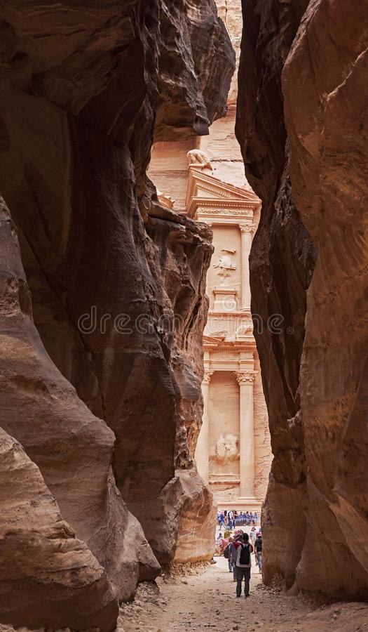 The Siq Canyon and the Treasury at Petra in Jordan stock image