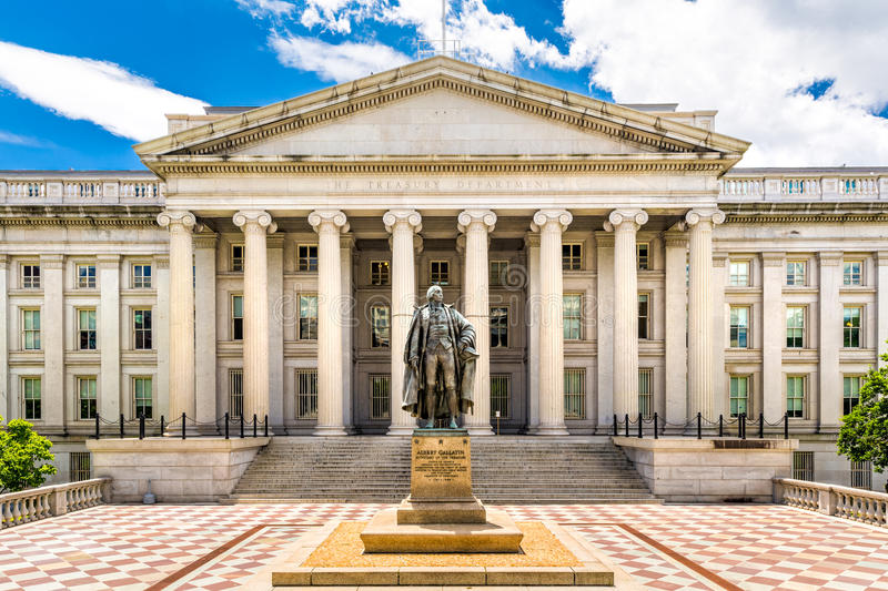 The Treasury Building in Washington D.C stock photos