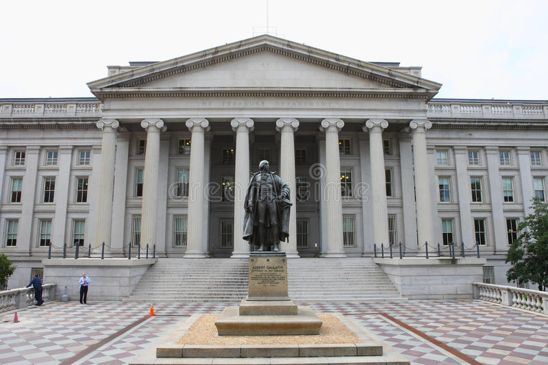 US Treasury Department building. The Treasury Department buildings in the washington stock image