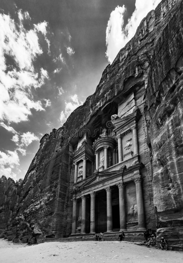 The Treasury II. A black and white picture of The Treasury Petra royalty free stock images